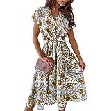 Loalirando Abito Donna a Manica Corta Stampa Floreale Vestito Camicia Elegante Donna Ufficio Casual Cerimonia