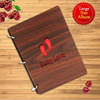 Sehaz Artworks Baby Love Wooden Scrap Book Photo Album (30 cm x 21 cm x 3 cm, Brown)
