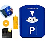 GibtPlus+ 5-i-1 parkeringsskiva med däckbanans djupmätare, isskrapa och shoppingvagn token, plast, blå, för bilar