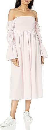 Amazon Brand - Women's Ella Off Shoulder Tiered Puff Sleeve Midi Dress by The Drop