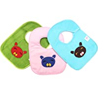 0Month+ Kriday Unisex Terry Cotton Waterproof Bibs for Newborn Baby (Multicolour) - Pack of 3