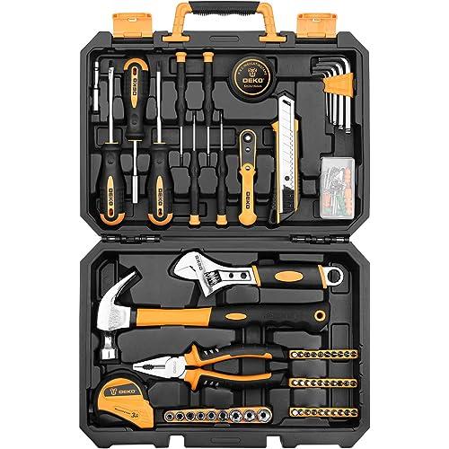 DEKO Set di utensili per riparazione casa 100 pezzi, kit di attrezzi per la mano per uso domestico generico con contenitore per attrezzi in plastica