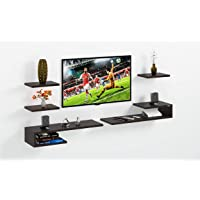 DAS Wall Mount TV Entertainment Unit/with Set Top Box Stand and 3 Wall Shelves Display Rack Wenge (Ideal for up to 43…