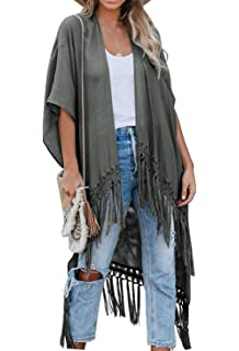 May Story Damen Sommer Kimono Cardigan L/ässige Strand Poncho Retro Bedruckte Kurzarm Lange Bluse Tops Pareos Beachwear