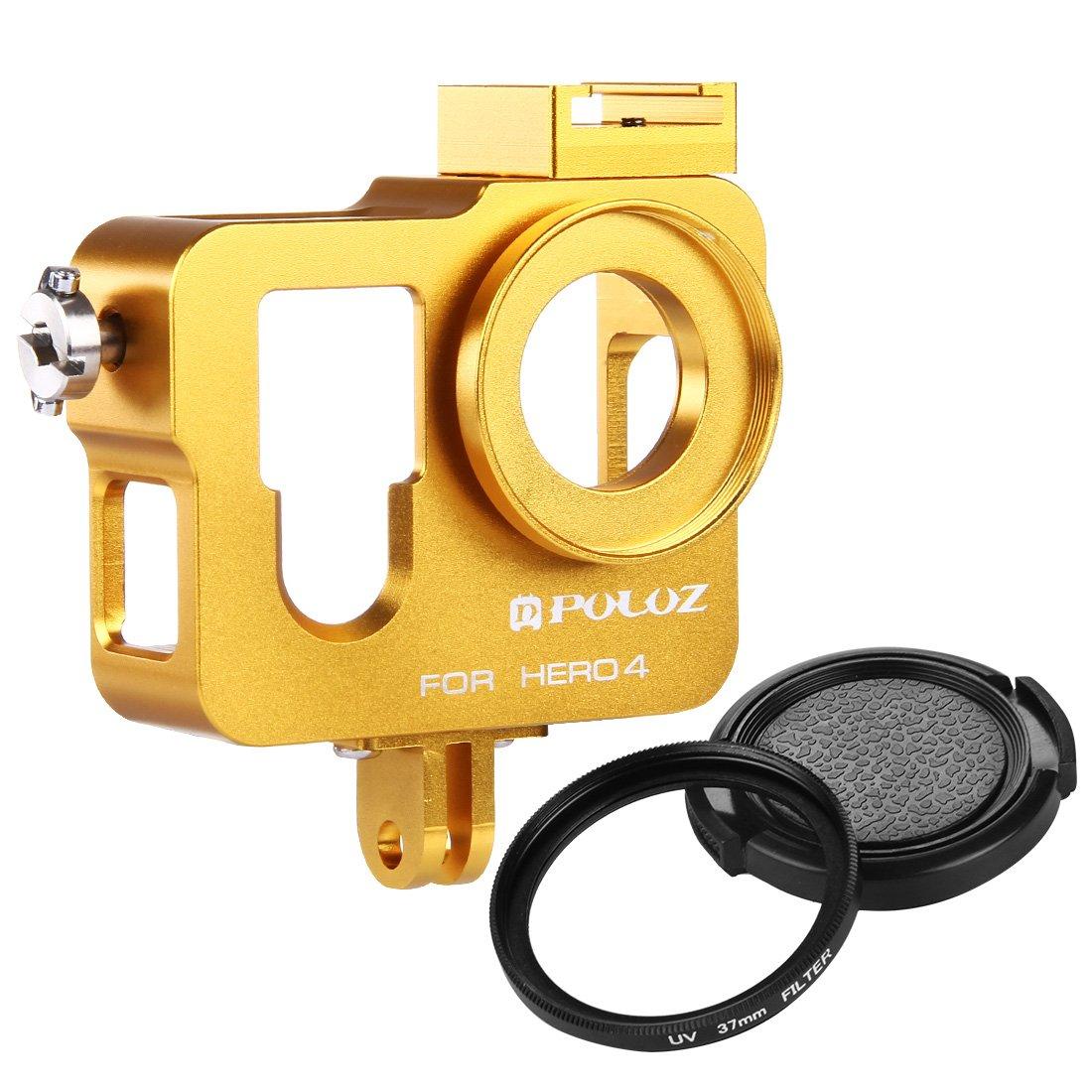 Puluz Shell alloggiamento in lega di alluminio CNC gabbia protettiva con 37�mm UV Lens Filter & Len