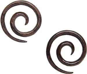 81stgeneration Orecchini Dilatatori Tribali in Legno Spirale 3 mm 10 Gauge