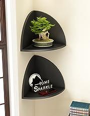 Home Sparkle Engineered Wood Corner Wall Shelf Set (26.5 cm x 19 cm x 19 cm, Black, Set of 2)
