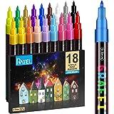 RATEL Marqueur Peinture Acrylique, 18 Couleurs Peinture Acrylique Stylos Acrylique Premium étanche Permanent Art Peinture Set