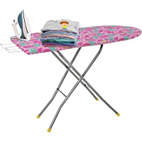 """FLIPZON Self Standing 18"""" Folding Premium Ironing Board with Iron Stand - (Color May Vary, Multi-Color) - (Make in India…"""