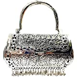 Trend Overseas Girls/Women Party gift Bridal Silver White Metal bag, brass clutch,Vintage antique ethnic clutch, metal purse,