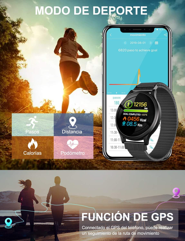 NAIXUES Smartwatch, Reloj Inteligente IP67 Pulsera Actividad Inteligente con Pulsómetro, Monitor de Sueño, Podómetro, Calorías Mujer Hombre para iOS y Android (Dorado) 3