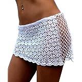 DELEY Mujeres Crochet Malla Hueco Mini Falda Corta Trajes De Baño Bikini Cubrir los Playa Verano