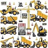 WandSticker4U®- Stickers muraux enfants EXCAVATRICE (85x44 cm) I véhicules camions chariot élévateur tracteu cranes voiture a