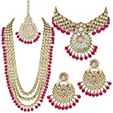 Peora 18K Gold Plated Kundan Faux Bead Bridal Necklace Jewellery Set for Women Girls