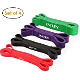INTEY Resistance Bands - 4PCS Latex Durable Resistance Loop Bands for Yoga, CrossFit, Stretching, Powerlifting, Exercise Workout Bands for Men and Women - Pull Up Assist Bands for Home Gym