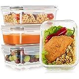 Lot de 4 Boite Repas Verre Lunch Box, Contenance 880mL 1 grand compartiment - Boite Repas Bento Box en Verre et sans BPA…