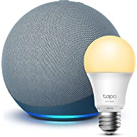 Echo (4th generation) | With premium sound | Twilight Blue + TP-Link Tapo Smart Bulb (E27), Works with Alexa