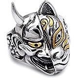 EVBEA Hannya Mask Ring Japanese Jewelry Mens Big Statement Biker Cool Rings