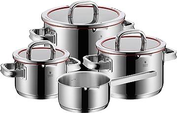 WMF Function 4 Topfset, 4-teilig, mit Glasdeckel, Kochtopf, Stielkasserolle, Cromargan Edelstahl poliert, mit 4 Abgießfunktionen, Innenskalierung, induktionsgeeignet, spülmaschinengeeignet, rot