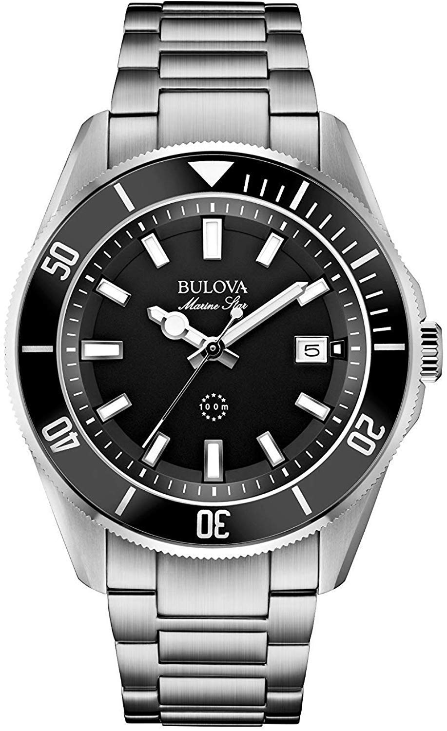 Bulova Men's Designer Watch Stainless Steel Bracelet – Water Resistant Black Dial Marine Star 98B203