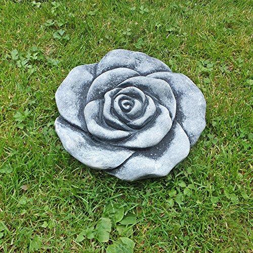 Stein Rose (Steinfigur Steinblüte Blume Rose Steinrose Steinguss Gartendeko Frostfrei 19 cm)