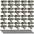 50 sets antieke linkse klink haak, bronzen toon hasp hoorn slot, kleine sluitingen voor houten dozen, klink haak sluiting met