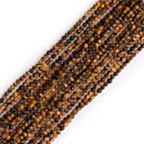 GEM-Inside Natural 2mm Yellow Tiger Eye Round Gemstone Semi Precious Loose Beads for Jewellery Making 15'