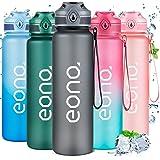 Amazon Brand - Eono Bottiglia Acqua 1 Litro - Borraccia Sportiva a Prova di Perdita Senza BPA, Borracce di Plastica con Segni