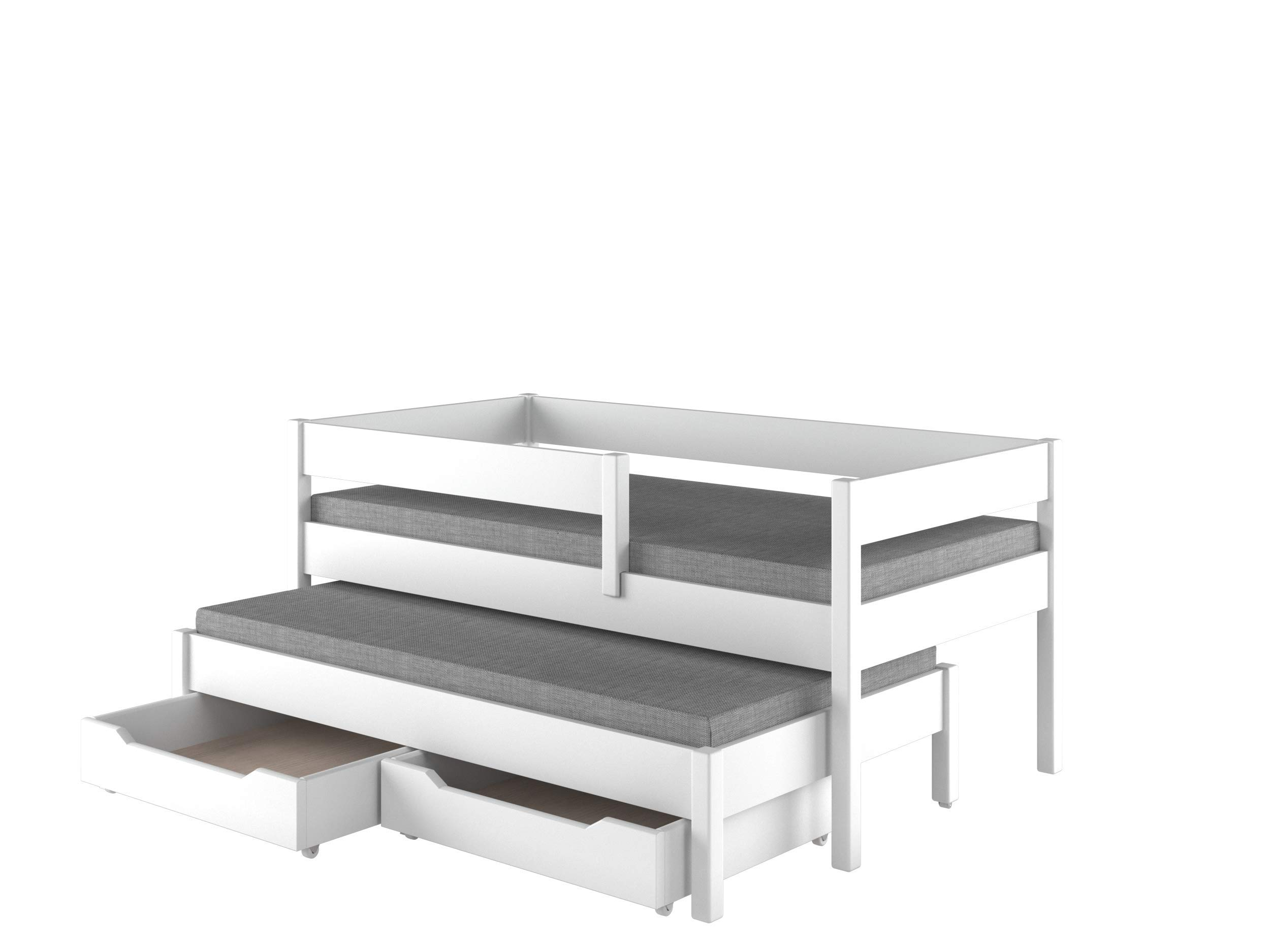 Children's Beds Home Trundle Bed For Kids Children Juniors with 2 Foam Mattresses and Drawers Included (200x90, White) Children's Beds Home Bed with Barriers Dimensions - Internal 140x70, 160x80, 180x80, 180x90, 200x90 (External: 147x77, 167x87, 187x87, 187x97, 207x97) Lower Bed Dimensions - Internal: 130x70, 150x80, 170x80, 170x90, 190x90 (External: 137x77, 157x87, 177x87, 177x97, 197x97) Universal bed entrance - right or left side, front barrier can be removed at later stage. Bed frame with load capacity of 150 kg, Fittings + installation instructions 1