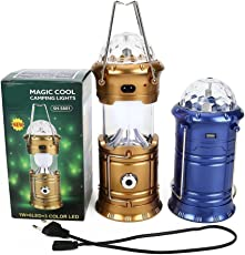 7Clouds 6 LED Solar Power Emergency Rechargeable Collapsible Lamp Travel Night Light Bulb Multipurpose (Camping, Hiking, Celebration, Party, Decoration, Festival, Diwali, Christmas) Lantern With 1 Watt LED FlashLight and 3 LED Disco Bulb (Assorted Colors)