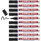 edding 3000 permanent marker - Zwart - 10 stiften - ronde punt 1,5-3 mm - sneldrogende permanent marker - water- en wrijfvast