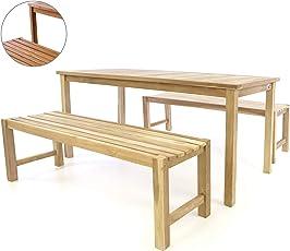Divero Garten- & Picknick-Set Sitzgruppe | Gartenmöbel-Garnitur 3-teilig 1 Tisch 2 Bänke | unbehandelte behandelte Oberfläche Teak-Holz Massiv wählbar
