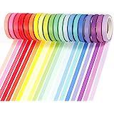 PuTwo Washi Tape, Masking Tape Pastel 20 Rouleaux, 8mm Ruban Adhésif Décoratif, Washi Tape Japonais en Washi, Ruban Adhésif e
