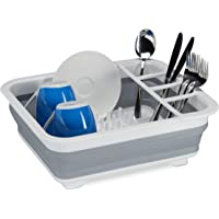 Relaxdays 10027853_111 Gris Égouttoir Pliable, Vaisselle Porte-Couverts Pliant, évier Cuisine, Camping Plastique…