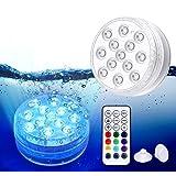 Piscina Luz LED Impermeables,Luces Sumergibles,Control Remoto Bajo El Agua Luces Multicolores LED Luz Sumergible para Acuario