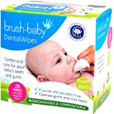 Brush-Baby DentalWipes for Babies   Stage 1 Birth - First Teeth   Suitable from 0-16 Months   Soft Wipes to Gently Clean…
