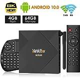 NinkBox TV Box Android 10.0, N6 Plus TV Box 【4G+64G】, Allwinner H616 Quad-Core 64bit Cortex-A53, Box Android TV de LAN100M et Wi-FI 2.4G/5G, Antenne Extérieur, 8K Boitier Android TV avec Mini Clavier