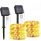 Guirnaldas Luces Exterior Solar,Tomshine 2 Pack 12m 120LEDs Luces Solares LED Exterior Jardin,IP65 Impermeable,8 Modos,Cadena