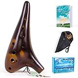 Horse Ocarina 12 trous Alto C Céramique avec sac de transport Sangle pour livre de musique (Marron)
