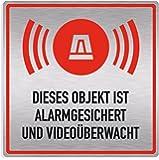 """Schild Alarmanlage """"Objekt alarmgesichert und videoüberwacht"""", edle Optik, silber gebürstet, Aluverbund, 20x20cm"""