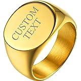 GoldChic Jewelry Anello Con Sigillo In Acciaio Inossidabile Per Uomo, Anelli a Fascia Incisi Personalizzati, Anelli Con Monog