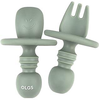 Baby L/öffel Babyl/öffel und Gabel Mehrfarbiges Besteckset frei von BPA um Ihr Baby zu ermutigen selbstst/ändig zu essen. Baby Gabel