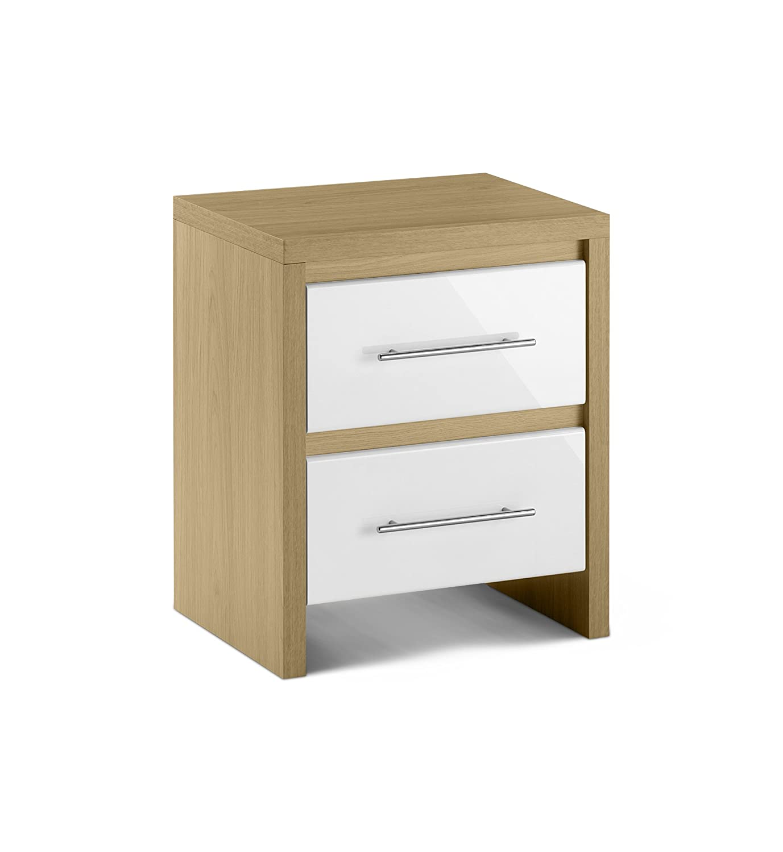 Julian Bowen Stockholm 2 Drawer Bedside Table, Oak/White Gloss:  Amazon.co.uk: Kitchen & Home