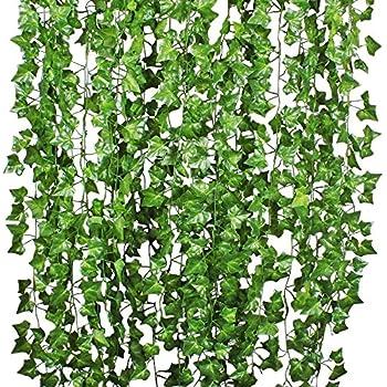 Lierre artificielle plantes guirlande vigne yqing 12 pcs - Plante artificielle pour exterieur ...