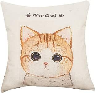 BIGBOBA Linen Cushion Covers Lovely Cat Pattern Cushion Case Sofa Bed Home Decor Pillowcase 45 45CM 18x18