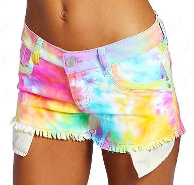NEW Womens SHORTS DENIM Neon Bright Ladies HOT PANTS Size 6 8 10 ...