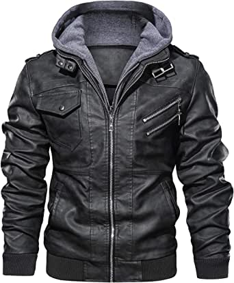 Hood Crew Men's Casual Stand Collar PU Faux Leather Motorcycle Bomber Jacket With a Removable Hood