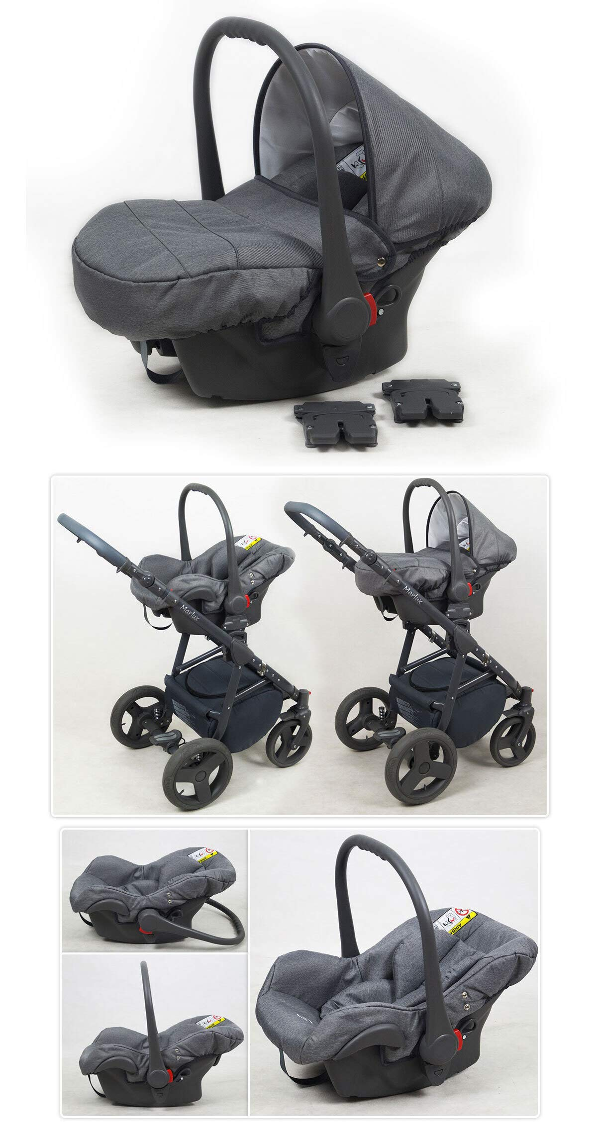 Travel System Stroller Pram Pushchair 2in1 3in1 Set Isofix Marley by SaintBaby Plum 2in1 Without Baby seat SaintBaby 3in1 or 2in1 Selectable. At 3in1 you will also receive the car seat (baby seat). Of course you get the baby tub (classic pram) as well as the buggy attachment (sports seat) no matter if 2in1 or 3in1. The car naturally complies with the EU safety standard EN1888. During production and before shipment, each wagon is carefully inspected so that you can be sure you have one of the best wagons. Saintbaby stands for all-in-one carefree packages, so you will also receive a diaper bag in the same colour as the car as well as rain and insect protection free of charge. With all the colours of this pram you will find the pram of your dreams. 3