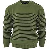 Relco Men's Classic Moss Green Retro Naval Striped Heavy Knit Jumper