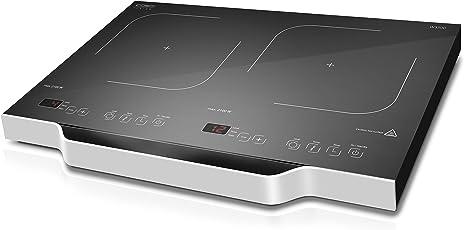 CASO W3500 mobiles Doppel-Induktionskochefld, Induktions-Kochplatte doppel, max. 3500 Watt, Kochen mit Induktion ist bis zu 50% energiesparender und sicherer als mit einem normalen Kochfeld, so schnell wie Gas, 12 präzise Leistungsstufen, ca. 60-240 °C
